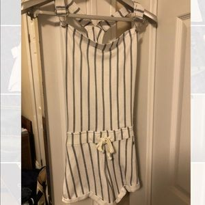 Never worn striped overalls/romper